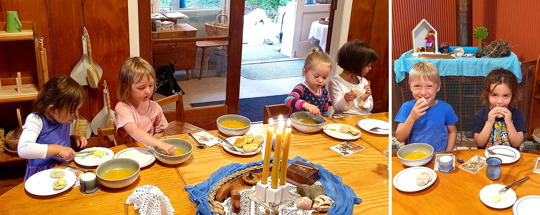 children cooking at rotorua kindergarten