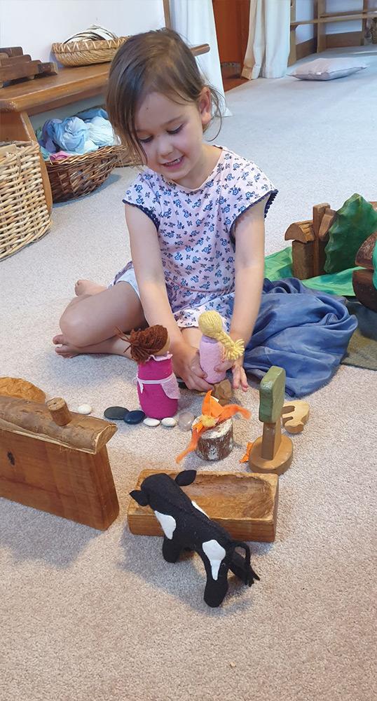 Story telling at steiner kindergarten in Rotorua