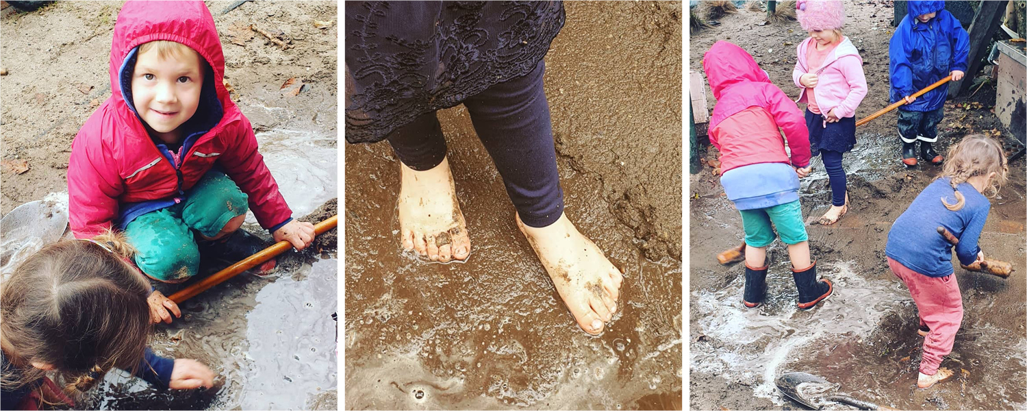 Kindy kids playing in mud and rain